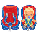 Small child in car seat Royalty Free Stock Photos