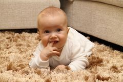 Small child on carpet. Small child crawling on carpet Royalty Free Stock Photos