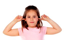 Small child covering his ears Royalty Free Stock Image