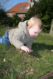 Small child crawling outside Royalty Free Stock Image