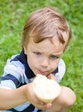Small child eating ice cream Royalty Free Stock Photos