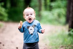 Small child in forest, shouting expression. Small child toddler in forest park outdoors, shouting expression stock image