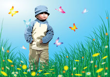 Small child in the garden Royalty Free Stock Photos