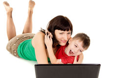 A small child with her mother watch the movie the notebook Royalty Free Stock Photo