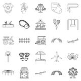 Small child icons set, outline style Stock Photo