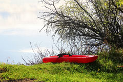 A small child kayak pulled up on the lake shore edge.  stock images