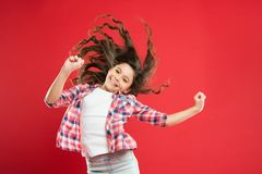 Small child long hair. Girl active kid with long hair. Dry shampoo. Easy tips making hairstyle for kids. Strong and. Healthy hair concept. Long lasting stock photo