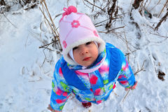 Small child looks up at winter snowy landscape Royalty Free Stock Image