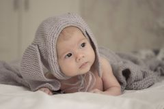 A small child of 1 months in a gray hat with ears looks to the side. Soft light soft focus. Little baby 1 months girl boy in a gray cap with ears looks to the royalty free stock images