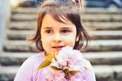 Small child. Natural beauty. Childrens day. face and skincare. allergy to flowers. Summer girl fashion. Happy childhood royalty free stock photos