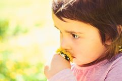 Small child. Natural beauty. Childrens day. Springtime. weather forecast. face and skincare. allergy to flowers. Little stock photos