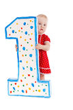 Small child and numeral one, isolation Stock Images