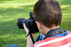 Small child photographer Stock Photo