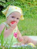 The small child at a picnic Stock Photo