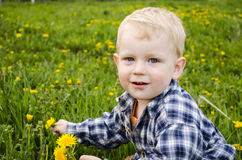 Small child  in a plaid shirt. Stock Images
