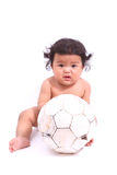 The small child plays with a soccerball Stock Images