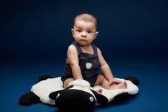 Small child portrait. Of hispanic boy on blue studio background stock images