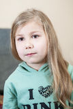 Small child portrait with long blond hair Royalty Free Stock Photos