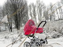 A small child in a pram. Beautiful stroller on the background of nature. Details and close-up. royalty free stock photo