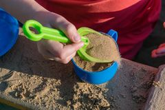 A small child puts a toy in a blue mug green sand shovel. Royalty Free Stock Photo