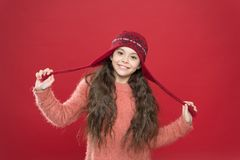 Free Small Child Ready For Winter. Kid Fashion. Warm Knitting Tips. Happy Girl In Earflap Hat. Holiday Activity Outdoor Royalty Free Stock Images - 165603679