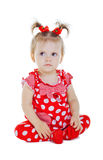 A small child in a red dress Royalty Free Stock Photography