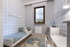 Small child room in modern apartment. Small child room in pastel blue color Royalty Free Stock Photography