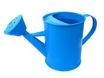 Small Child's Blue Watering Can. Children's watering can isolated on white background Royalty Free Stock Photos