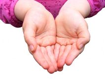 Small Child's Hands. Close up photo of a three year olds hands isolated on white background Stock Photo