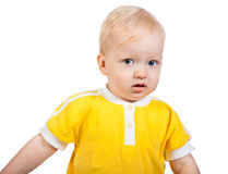 Small child sad. The beautiful small child sad isolated on a white background stock photos