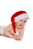 Small child with Santa Claus hat baby. Isolated on white background Royalty Free Stock Photos