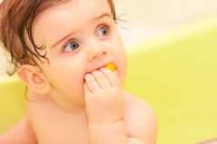 Small child sitting in the bath Stock Photos