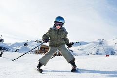 Small child skiing Royalty Free Stock Images