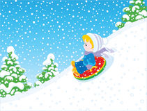 Small child sleighing Royalty Free Stock Photography