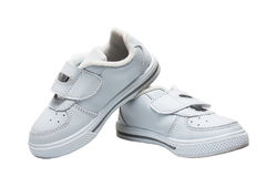 Small child sport white shoes Stock Images
