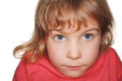 Small child in studio, head down Royalty Free Stock Photography