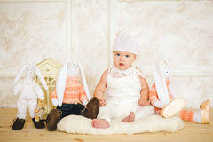The small child in a suit of a hare Royalty Free Stock Images