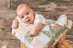 Small child with surprised face. Amazed caucasian infant. How to boost baby development Royalty Free Stock Photo