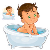 Small child take a bath Royalty Free Stock Image