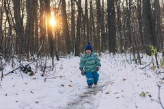 Small child walking on a snowy path among gloomy forest. royalty free stock photos