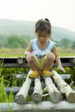 A small child  walks along in rice field road stock photo