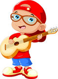Small child wearing a red hat and sunglasses playing a guitar Royalty Free Stock Images