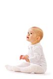 Small child on white background. Baby on white background in studio Royalty Free Stock Image