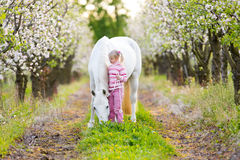 Small child with a white horse in apple orchard Royalty Free Stock Photo