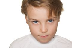 Small child in a white t-shirt photography studio Royalty Free Stock Images