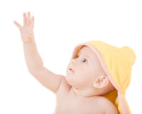 Small child in yellow hood Stock Image