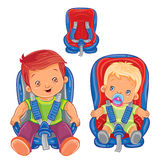 Small children in car seats Royalty Free Stock Photos