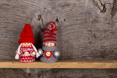 Small Children Christmas Winter Puppet Figures Red Grey Nordic Stock Photo