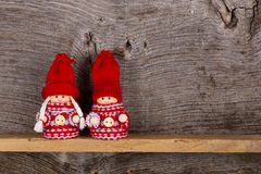 Small Children Christmas Winter Puppet Figures Red Grey Nordic Royalty Free Stock Image