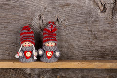 Small Children Christmas Winter Puppet Figures Red Grey Nordic Royalty Free Stock Photos
